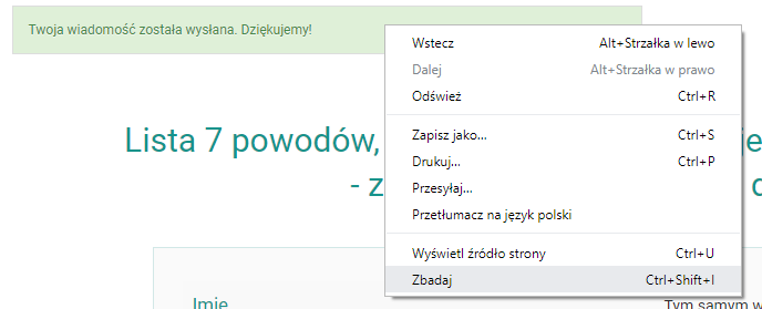 menu kontekstowe google chrome